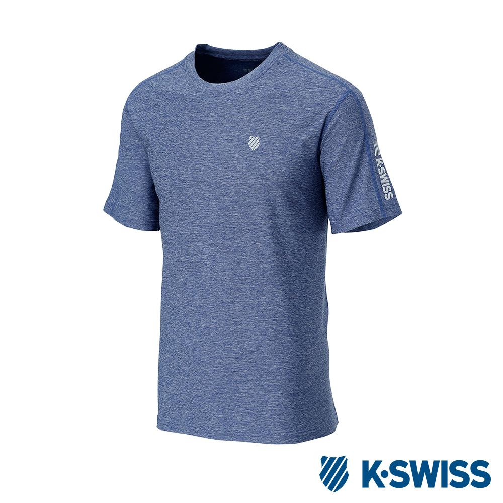 K-SWISS PF RE Melange Tee排汗T恤-男-藍