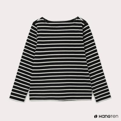 Hang Ten-女裝-ECO環保纖維配條長袖上衣-藍白條紋