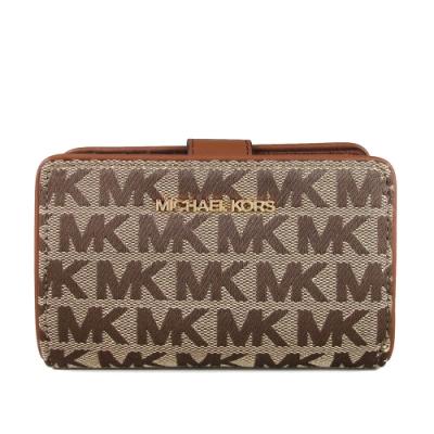MICHAEL KORS Jet Set Travel緹花滿版MK壓扣式中夾(裸咖啡色)