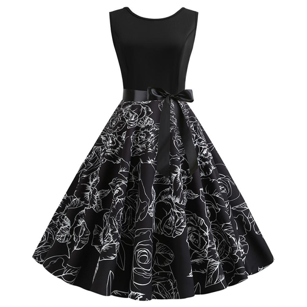 MOCO復古赫本風收腰綁黑緞帶玫瑰印花大擺裙小禮服背心洋裝L~2L