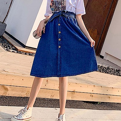 La Belleza荷葉壓折鬆緊腰綁蝴蝶結木釦半身裙牛仔裙