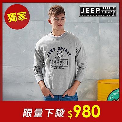 JEEP 森林冒險立體刺繡長袖TEE -灰色