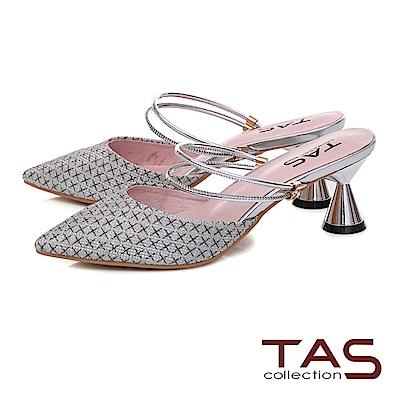 TAS 復古格紋2WAY低跟涼拖鞋-閃耀銀