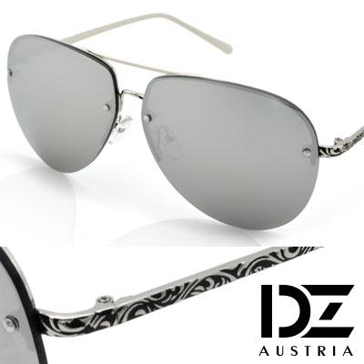 DZ 綣紋華雕鏡腳 防曬太陽眼鏡造型墨鏡(銀框水銀膜)