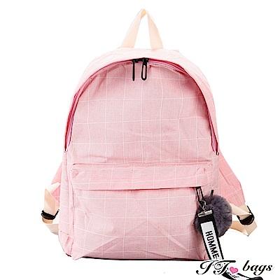 It Bags  日韓純色帆布毛球雙肩後背包 共三色