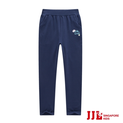JJLKIDS 舒適休閒素面鬆緊棉長褲(藏青)