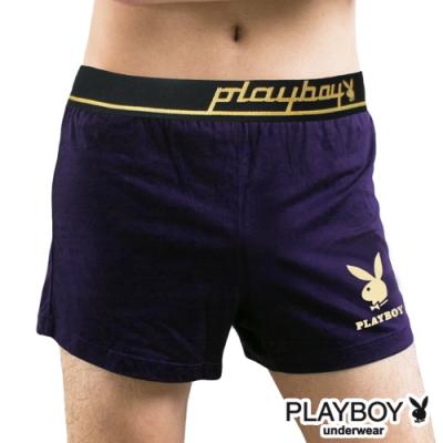 男內褲  PLAYBOY 彈性精梳棉素色燙金兔頭寬鬆四角褲-單件(深紫)
