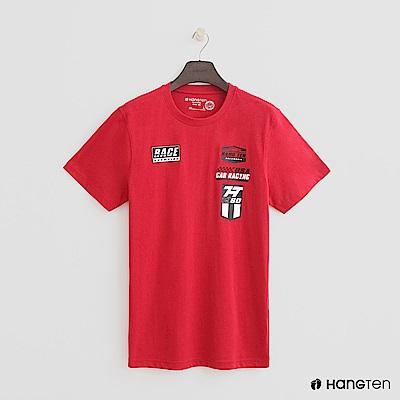 Hang Ten - 男裝 - 有機棉-有機棉-純色賽車logo棉T - 紅