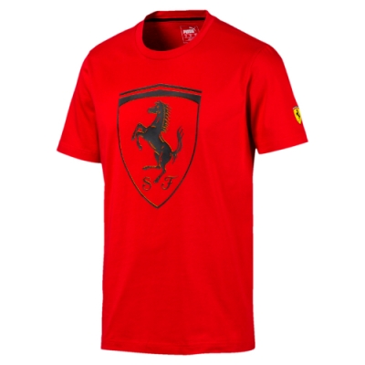 PUMA-男性法拉利車迷系列大盾短袖T恤-法拉利紅-歐規