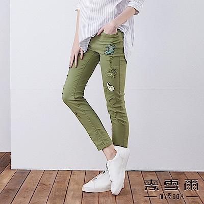 【麥雪爾】棉質趣味拼布刷破長褲