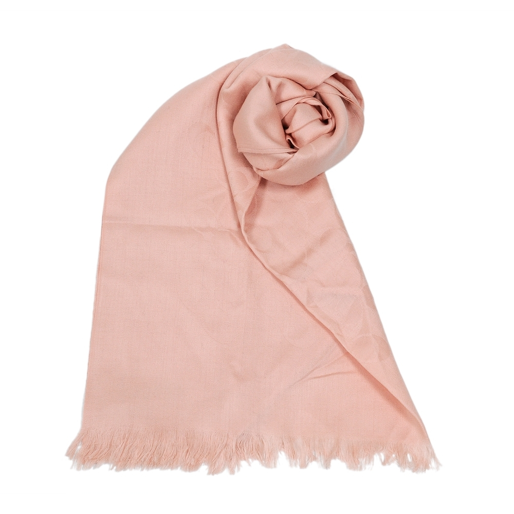 COACH 經典滿版LOGO羊毛混絲披肩圍巾 玫瑰粉