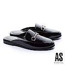 拖鞋 AS 自信魅力金屬馬銜釦漆皮平底穆勒拖鞋-黑