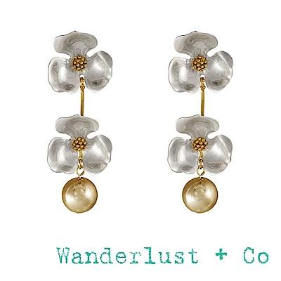 Wanderlust+Co 澳洲品牌 銀色小花 金色圓球垂墜式耳環 ISLA DROP