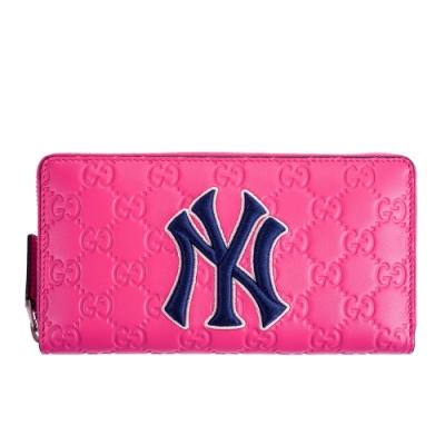 GUCCI NY Yankees大聯盟聯名款藍色NY字母刺繡牛皮壓紋GG拉鍊長夾 (桃紅)