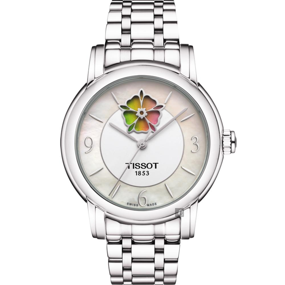 TISSOT 天梭 Lady Heart 花朵鏤空機械女錶-珍珠貝x銀/36mm