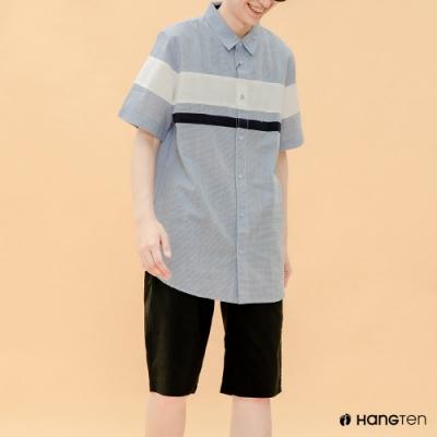 Hang Ten- 青少童裝--粗條紋印花短袖襯衫-藍