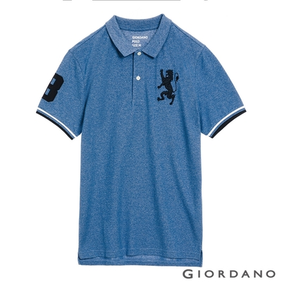 GIORDANO 男裝勝利獅王刺繡POLO衫 - 49 雪花中洗水藍