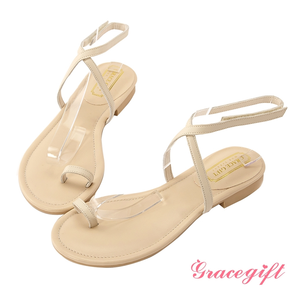Grace gift-真皮交叉細帶套趾涼鞋 杏