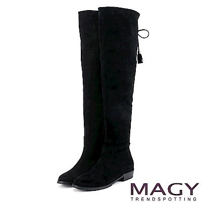 MAGY 展現獨特風采 2WAY造型後邊綁帶絨布膝上靴-黑色