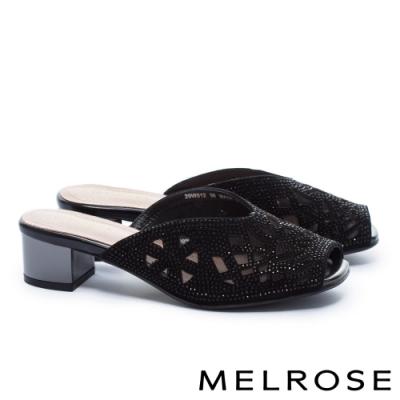 拖鞋 MELROSE 氣質時尚晶鑽幾何鏤空魚口高跟拖鞋-黑