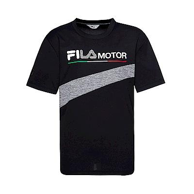 FILA 男款吸濕排汗圓領T恤-黑色 1TET-1473-BK