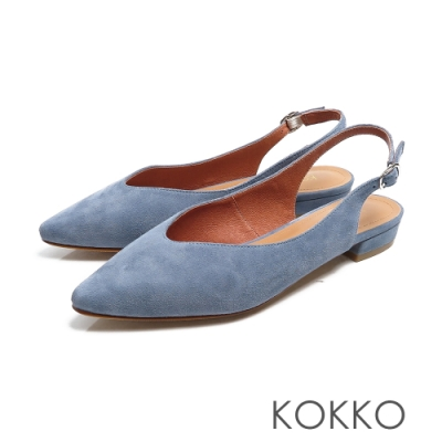 KOKKO - 微甜布朗尼純色後拉帶尖頭平底鞋-秋日藍