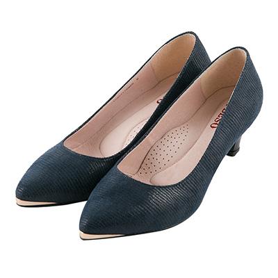 BESO知性風尚 金屬微尖頭跟鞋~藍