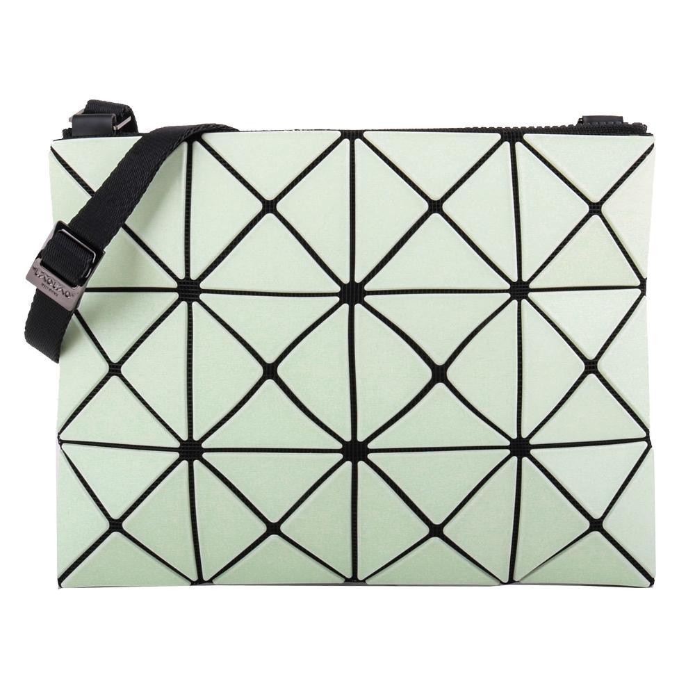 ISSEY MIYAKE  BAOBAO透光幾何方格3x4斜背扁包/薄荷綠X黃綠