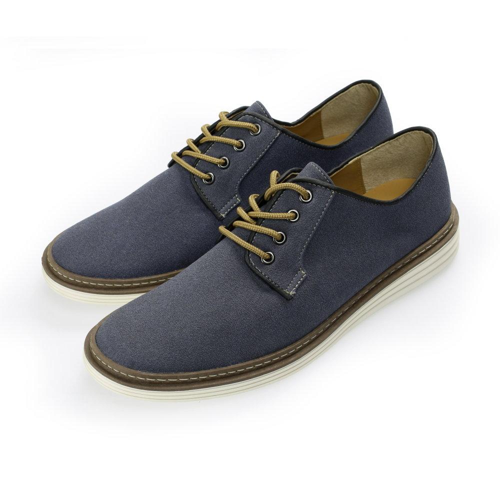 BuyGlasses 麂皮純色素面休閒鞋-藍