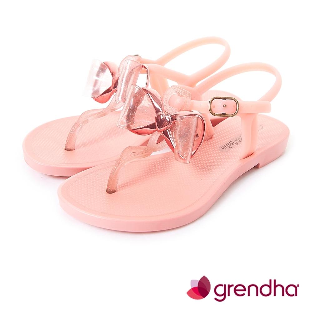 Grendha 金屬風夢幻蝴蝶結平底涼鞋-女童-粉橘