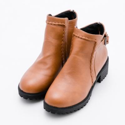 River&Moon大尺碼短靴 立體縫線扣環粗跟短靴 黃棕