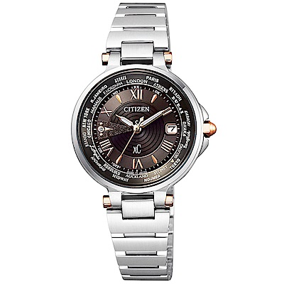CITIZEN 星辰 xC 光動能世界時間電波錶(EC1010-90X)-咖啡/29mm