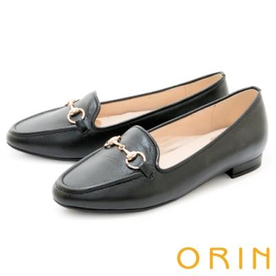 ORIN 氣質馬銜釦真皮樂福 女 平底鞋 黑色