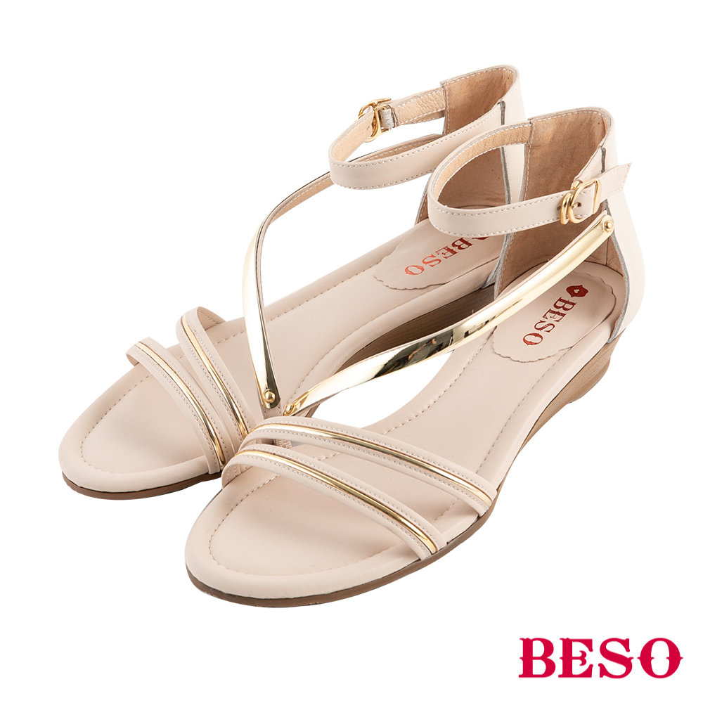 BESO 柔軟曲線 繚繞楔型涼鞋~米