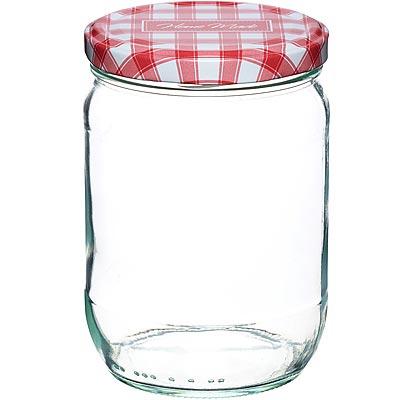 KitchenCraft 旋蓋玻璃密封罐(紅格580ml)