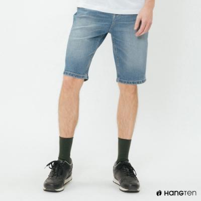 Hang Ten - 男裝 - 經典刷色牛仔五分短褲 - 藍