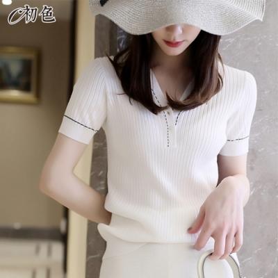 初色  小香風V領針織衫-共2色-(F可選)