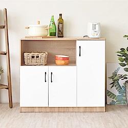 《HOPMA》DIY巧收伍德三門廚房櫃-寬91 x深40.3 x高81.5cm