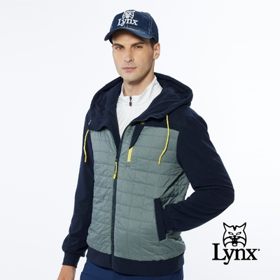 【Lynx Golf】男款保暖防風鋪棉格紋剪接胸袋款長袖連帽外套-深藍色