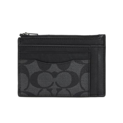 COACH PVC LOGO皮革證件卡夾零錢包(黑灰)