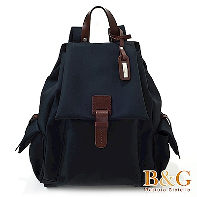 B&G輕盈多口袋雙肩後背包(絲光黑)