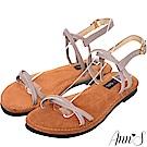 Ann'S水洗牛皮-雙扭結寬版平底涼鞋-灰