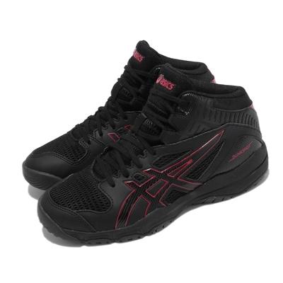 Asics 籃球鞋 Dunkshot MB 9 中筒 女鞋 亞瑟士 運動 緩震 透氣網布 皮革 黑 紅 1064A006001