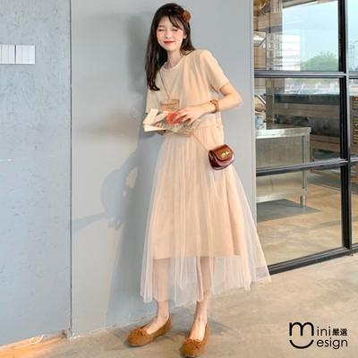 Mini嚴選-拼接網紗短袖連身裙 兩色