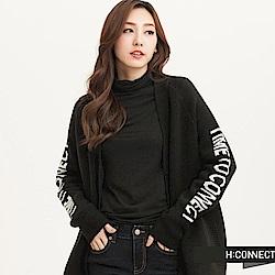H:CONNECT 韓國品牌 女裝 -純色印字針織外套-黑 (快)