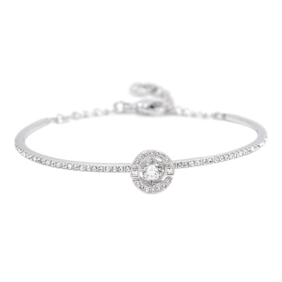 SWAROVSKI 施華洛世奇 SPARKLING璀璨浮動透明圓形水晶銀色手環手鍊
