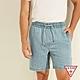 GUESS-男裝-素面亞麻混紡牛仔短褲-淺藍 原價2090 product thumbnail 1