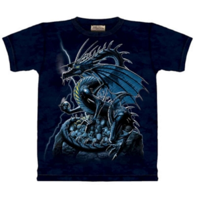 摩達客-自然純棉系列 骷髏龍 藍色設計T