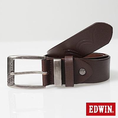 EDWIN 皮帶頭拷字皮帶-咖啡