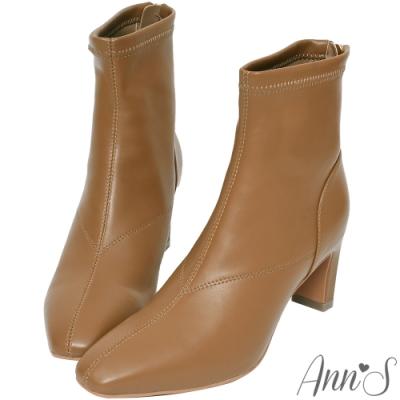 Ann'S充滿自信-美型貼腿剪裁方頭扁跟短靴-咖